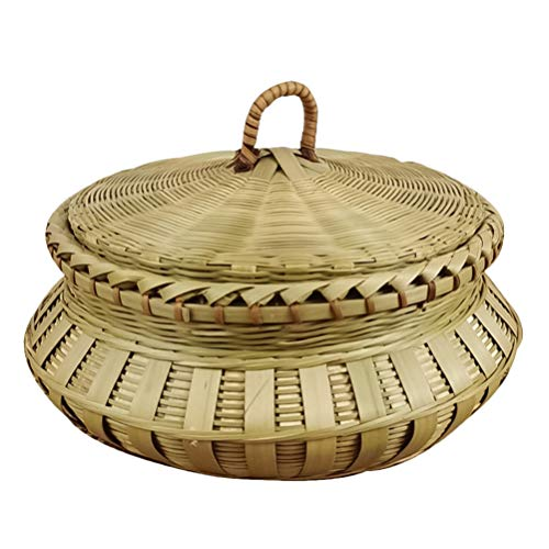 BESPORTBLE Cesta de Bambú Pan Bandeja de Frutas de Almacenamiento Mini Circular Cesta de Comida Tejida de Bambú Vegetal Galleta Panadería Cuenco con Tapa Verde Claro