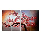 FLY SPRAY 4-Piece Oil Paintings Canvas Wall Art Panels Stretched Framed Ready Hang Red Flowers Plum Blossom...