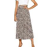 Rawdah_Faldas Mujer Largas Elegantes Faldas Mujer Cortas Verano Fiesta Originales Mujeres Cintura Elástica Leopardo Falda Vintage Una Línea Suelta Larga Falda Swing