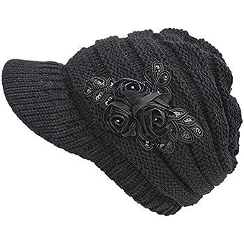 HugeStore Women Ladies Winter Crochet Peaked Beanie Cap Hat Knitted Skull Cap Wh