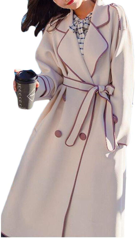 Joe Wenko Women's Lapel Belt Splice Double Breasted Loose Fit Long Trenchcoats