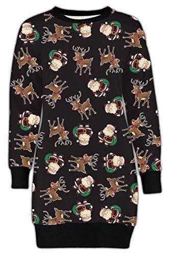 Kerstmis Dames Fleece Tuniek Jumper Womens Kerstmis Jurk Elf Lange Sweatshirt