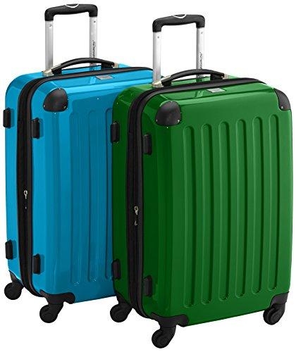 HAUPTSTADTKOFFER - Alex - 2er Koffer-Set Hartschale glänzend, 65 cm, 74 Liter, Blau-Grün