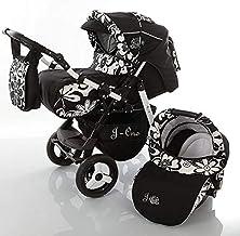 Cochecito de bebe 3 en 1 2 en 1 Trio Isofix silla de paseo Jag-Cat by SaintBaby negro & flores 3in1 con Silla de coche