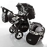 Poussette Combinée Trio landau 2en1 3en1 Isofix siège Auto Jag-Cat by SaintBaby noir & fleurs 3en1 avec siège bébé