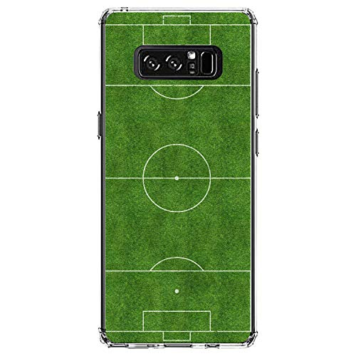 DistinctInk Clear Shockproof Hybrid Case for Samsung Galaxy Note 8 - TPU Bumper, Acrylic Back, Tempered Glass Screen Protector - Soccer Field Layout