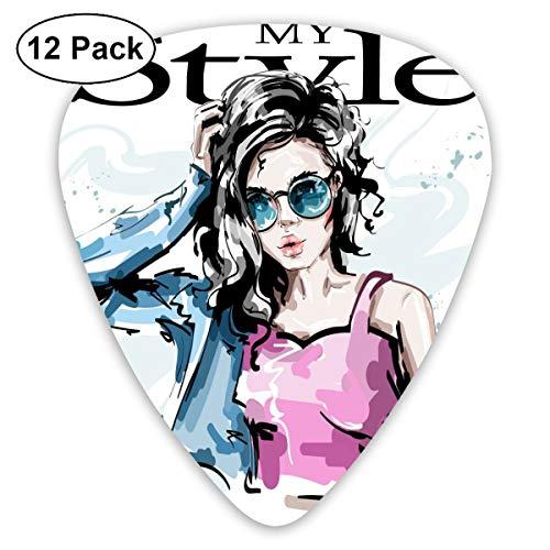 Slaytio 12-teiliges Gitarrenplektrum, modisch, elegant für Mädchen in Jeans, My Style 0,96 mm, 0,71 mm, 0,46 mm, Mode für Gitarre, Mandoline und Bass, Ihre E-Gitarre