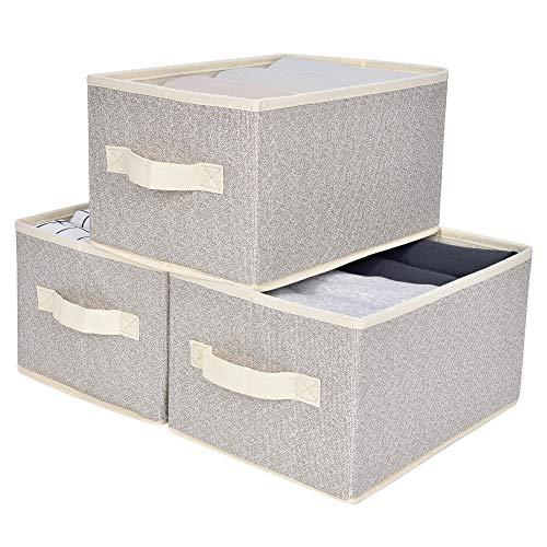 GRANNY SAYS Storage Bin for Shelves Fabric Closet Organizer Shelf Cube Box with Handle Home Office Storage Baskets Medium Beige 3-Pack