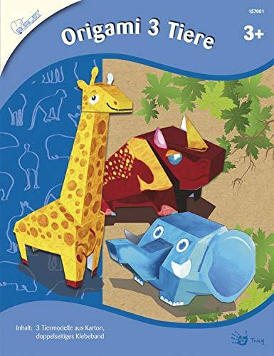 MAMMUT 157001 - Bastelset, Origami 3 Tiere, Falttechnik, Komplettset mit 3 Tiervorlagen zum Falten, 1 Rolle Klebeband und Anleitung, Faltset für Kinder ab 3 Jahre