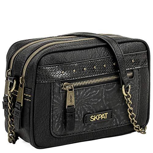 SKPAT - Bolso de Mujer Tipo Bandolera Pequeño. Piel Síntetica Relieves y Texturas Compartimento Principal Doble. Elegante y Bonito. Diseño Casual. 304683, Color Negro
