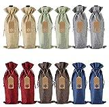 Bolsas de regalo de vino de arpillera, 12 piezas de yute con cordón para botellas de vino con etiquetas y cuerdas para Navidad, bodas, viajes, cumpleaños, fiestas de vacaciones (6 colores)