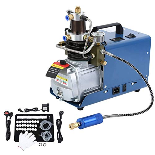 Yonntech 300BAR 30MPA 4500PSI Hochdruck-Druckluftpumpe Elektrischer Luftkompressor, PCP-Luftpumpe für Druckluftpistole PCP-Luftpumpe Geeignet für normale Pkw-Fahrräder und Fahrradreifen