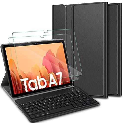 ELTD Español diseño Teclado Funda [con la tecla (ñ)] + película templada[2 Paquetes] para Samsung Galaxy Tab A 10.4 2020, Funda con Desmontable Teclado para Samsung Galaxy Tab A7 T505/T500/T507