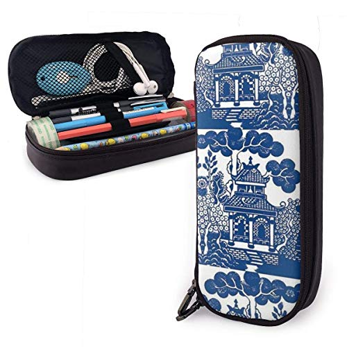 JKKSA Universal Zipper Big Capacity Pen Bag Holder for Painter Drawing Painting Children - Pencil Box Blue Gazebo Landscape Painting Stationary Case Toiletry Bag