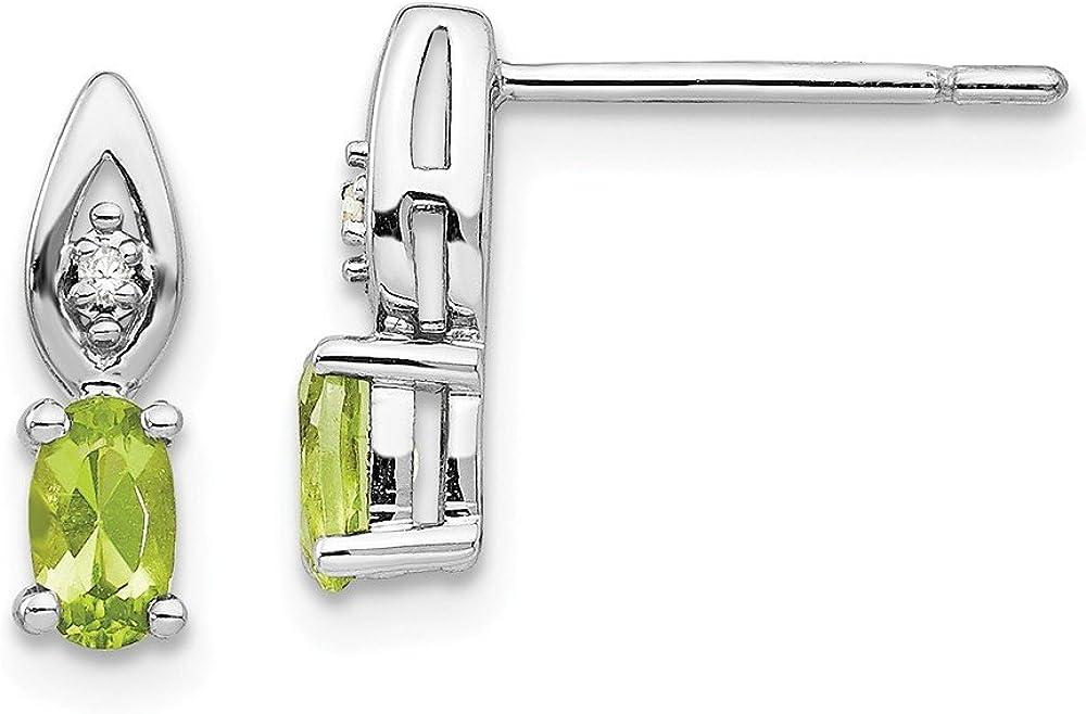14k White Gold Green Peridot Diamond Post Stud Earrings Drop Dangle Birthstone August Fine Jewelry For Women Gifts For Her