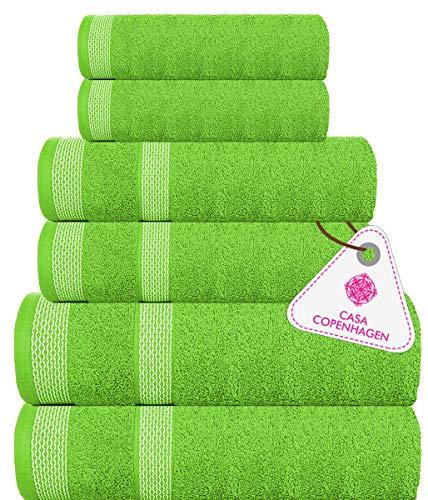 Casa Copenhagen Solitaire Luxury Hotel & Spa Quality, 600 GSM Premium Cotton, 6 Piece Towel Set, Includes 2 Bath Towels, 2 Hand Towels, 2 Washcloths, Lime Green