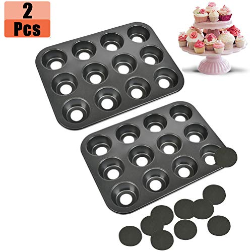 12 Cups Cheesecake Pan Removable Bottom, Nonstick Carbon Steel Muffin Pan, Stainless Steel Muffin Pan No Coating for Small Cheesecake Muffin Cupcake, 2 Pack