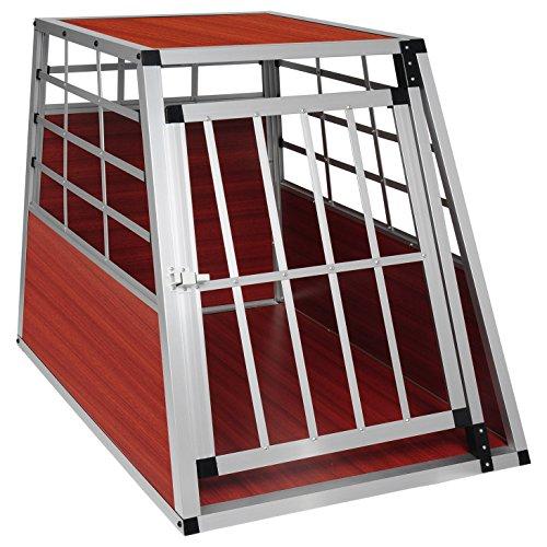 EUGAD Trasportino per Animali Cuccia per Cane da Esterno Box da Cani per Auto in Alluminio Trapezoidale Legno Scuro 0043HT
