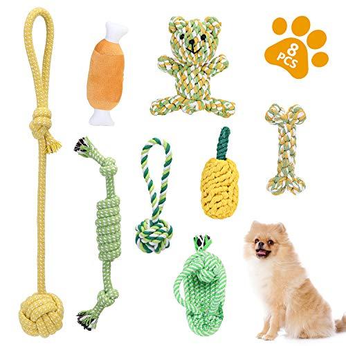 KATELUO 8 Pcs Hundespielzeug Welpen Zahnen Spielzeug Hund Seil Kauspielzeug und Quietschende Plüsch Hundespielzeug, ungiftig und geruchlos Robust Besser für Zahnreinigung Geeignet