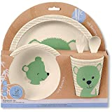 Sterntaler Bambus Kinder Geschirr-Set Baylee, 5-teilig, Süßes Bär-Motiv, Grün