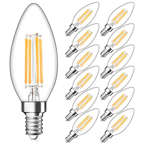 Dimmable E12 Candelabra LED Bulbs 40W Equivalent, 2700K Warm White, 4W Filament LED Chandelier Light Bulbs, B11 Vintage Edison Clear Candle lamp with Decorative Candelabra Base, Pack of 12