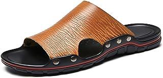 メンズシューズ メンズレザースリッパファッション軽量で快適な夏のビーチシューズ滑り止めフラットラウンドトゥセットスリッパ 通気性 (Color : 褐色, サイズ : 26.5 CM)