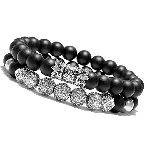 Meangel 8mm Charm Beads Bracelet for Men Women Black Matte Onyx Natural Stone Beads, 7.5'
