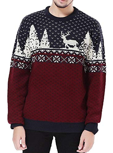 V28 Men's Christmas Reindeer Snowman Penguin Santa and Snowflake Sweater (Medium, ReindeerFS)