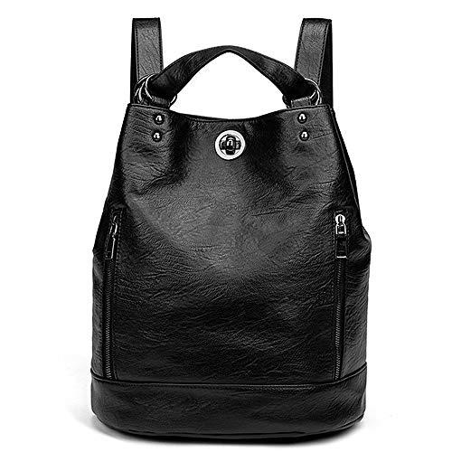 Damen Leder Rucksack Elegant - Lederrucksack Wasserdicht 2 in 1 als Fashion Backpack und Schultertasche Bucket Bag, Daypack Leichte Große Mode Passend für Laptop, Bag für Arbeit Schule Reise (schwarz)