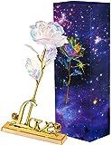 VANDA Rosa Artificial Galaxy de 24 k con Caja de Regalo Love Stand y luz LED Día de San Valentín, Día de la Madre, Día de Acción de Gracias, Navidad, Cumpleaños, Aniversario (con lámpara, con Base)