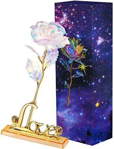 VANDA 24k Galaxy Rose Blume mit Geschenkbox Liebesständer und LED-Licht Valentinstag, Muttertag, Erntedankfest, Weihnachten, Geburtstag, Jubiläum(mit Lampe, mit Sockel)