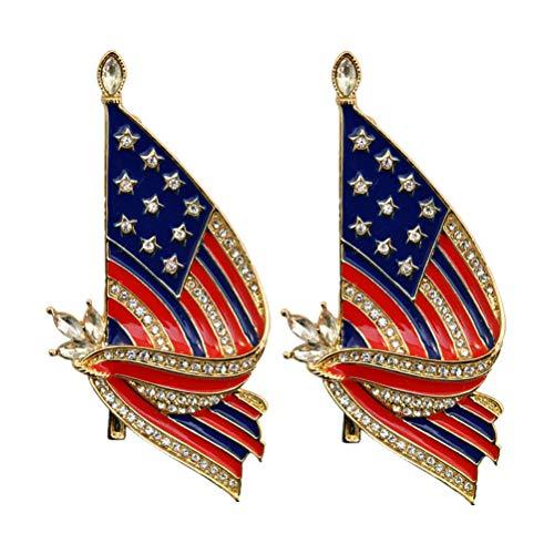 Amosfun 2 unids Bandera Americana Broche pechuga Estrellas y Rayas Pin de la Solapa Broche Americana EE.UU. Bandera patriótica Solapa Pin Broche