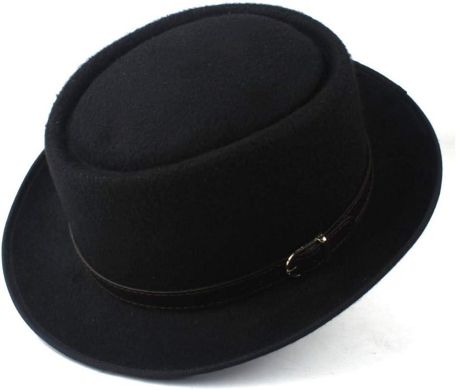 HXGAZXJQ Hxgang Pork Pie Hat for Women Men with Leather Dad Wool Flat Fedora Hat Porkpie Church Fascinator Gambler Cap Hat (Color : Black, Size : 58)