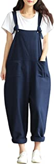 XFentech Women Retro Loose Casual Sleeveless Wide Legs Jumpsuit Pockets Dungarees