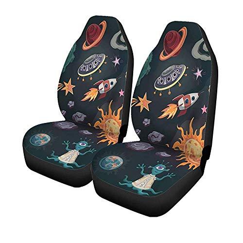 Beth-D set met 2 stoelhoezen voor autostoelen, collectie speciaal planeetdesign, kleur en bescherming voor voorstoelen, universeel, automatisch, 14-17 inch