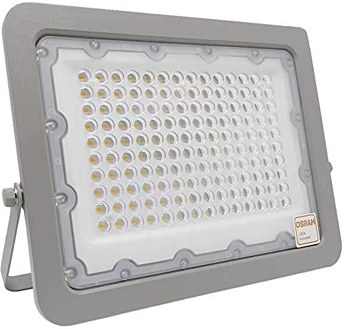 Foco LED Exterior OSRAM 30W 50W 100W 150W 200W, IP65 Luz Natural 4000K, Proyector AVANT Slim para terraza, jardin, patio. (100)