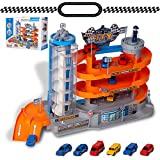 NeatoTek 4-Level Garage Toy Set Car Vehicle Building Parking Lot Race Tracks with 6 Pcs Diecast Metal Cars Durable Garage Playset for Boys, Kids, Toddler