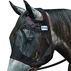 A horse fly mask that covers the face