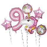 Unicornio Decoración Cumpleaños 9 Años Globos Números Gigantes Unicornio Globo Rosa para Decoración Fiesta Cumpleaños Niña (numero 9)