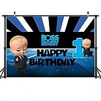 漫画の背景ブルーリトルマンボスベイビービニール写真の背景新生児シャワー誕生日パーティーフォトスタジオの背景ボスベイビーポートレート写真の背景ビデオ撮影の背景