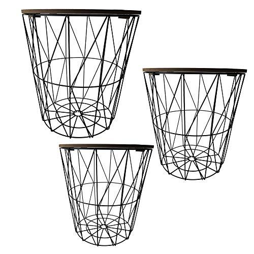 Cepewa Beistelltisch 3er Set Couchtisch im Industrie Design aus Metall mit Holz Tischplatten Ø 29 cm Ø 34 cm Ø 39,5 cm (geflammte Tischplatten)