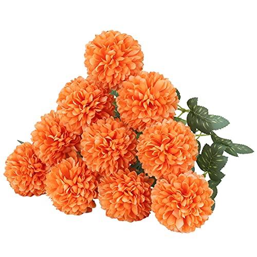 HUAESIN 10pcs Flores Artificiales Decoracion Jarrones, Crisantemos Artificiales de Seda Ramo de Flor Naranja Artificial...