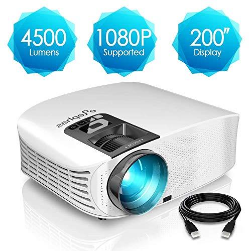 Proyector HD, ELEPHAS 1080P LCD Video proyector Full HD con 4500 lúmenes, Cine en casa con una Pantalla de 200 Pulgadas, Compatible con HDMI VGA AV USB Micro SD, Blanco