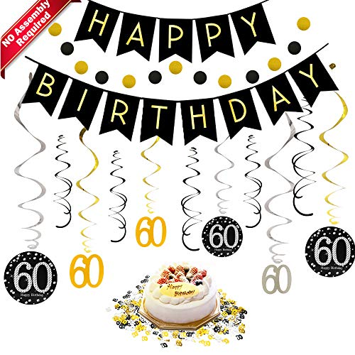 60th Birthday Decorations Kit for Men & Women 60 Years Old Party, NO Assembly Required - Black Gold Happy Birthday Banner, Hanging Swirls, Circle Dots Hanging Decoration, Number 60 Table Confetti