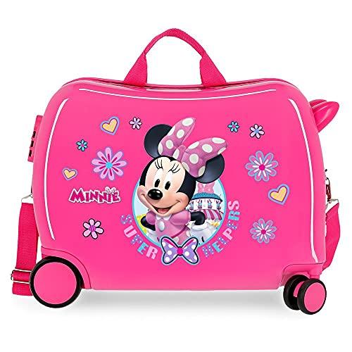 Disney Minnie Super Helpers Valigia per Bambini, Rigida in ABS, Chiusura a Combinazione Laterale, 4 Ruote, Bagaglio a Mano, Rosa (Pink 01)