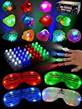 JOYIN 60 PCs LED Light Up Party Favors includ 44 LED Finger Lights, 12 LED Flashing Bumpy Rings and 4 Flashing Slotted Shades Glasses for Glow in the Dark Party, Halloween, 4th of July Independent Day