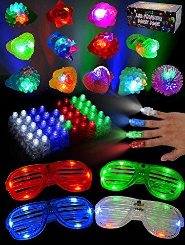 JOYIN 60 PCS Juguetes de lluminación LED con AnilloLuminosas Gelatina Pedregoso Gafas Luminoso Disfraces para Fiestas Accesorios