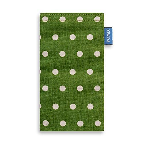 YOMIX Handytasche Gunilla grün mit Strahlenschutz für Mobistel Cynus F6 aus beschichteter Baumwolle mit genialer Display-Reinigungsfunktion durch Microfaserinnenfutter