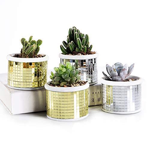 SE SUN-E Moderna Mosaico di Vetro a Scacchi Motivo Cemento succulente Cactus fioriera, minuscole Piante Vaso di Fiori pianta Perfetta Idea Regalo prod per Home Office Scuola Decorazioni da Giardino