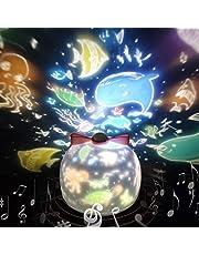 Lámpara Proyector Estrellas 360° Rotación Músic Lampara luz nocturna LED para bebés, con 6 películas de proyección, Aplicar para Habitación Bebé, Dormitorio, Sala, Pasillos (Rosa)